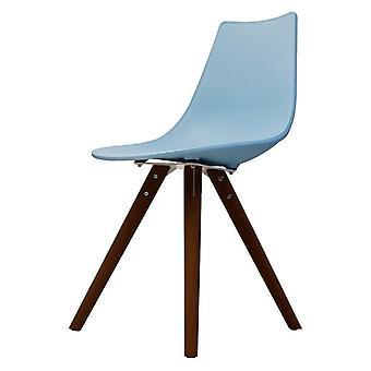 Chaise de salle à manger en plastique bleu iconique de fusion vivante avec des jambes en bois foncé