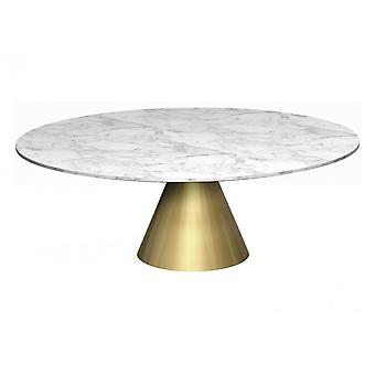 Gillmore Space Large Round Marble Coffee Table With Conical Brass Base