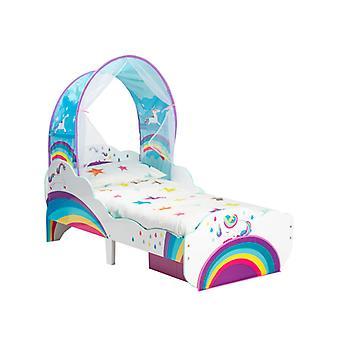 Einhorn Regenbogen Kleinkind Bett mit Lagerung und Baldachin