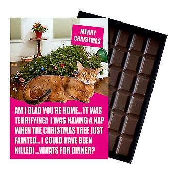 Abyssinian Cat Christmas Gift Festive Chocolate Xmas Presents for Cat Lovers Chocolate Greeting