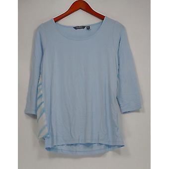 Lisa Rinna Collection Women's Top XXS 3/4 Sleeve w/ Chiffon Back Blue A305058