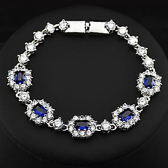 18K Gold Plated Blue And White Swiss Cubic Zirconia Bracelet, 19cm