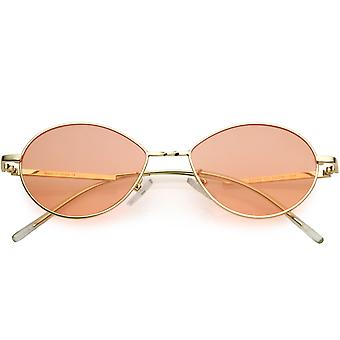 Small Retro Color Tinted Lenses Gold Metal Frame Oval Sunglasses 50mm