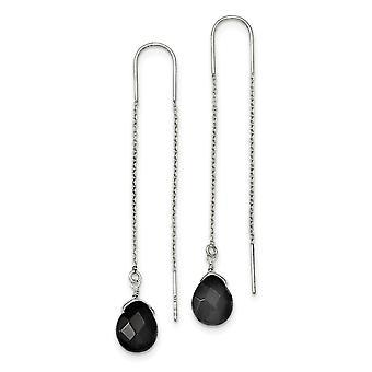 925 Boucles d'oreilles Sterling Silver Black Quartz Threader