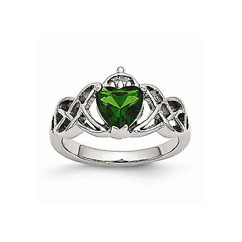 Stainless Steel Polsihed With Green Heart Cubic Zirconia Claddagh Ring - Ring Size: 7 to 9