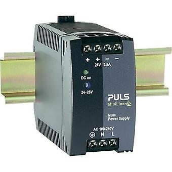 Rail mounted PSU (DIN) PULS MiniLine ML60.241 24 Vdc 2.5 A 60 W 1 x