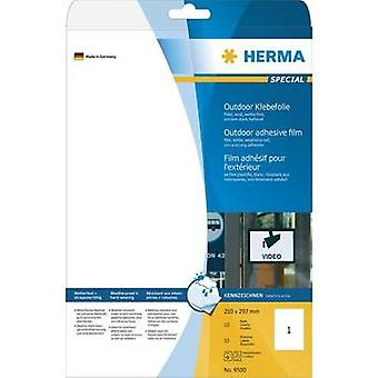 HERMA Labels A4 outdoor film 210x297 mm white extra strong adhesion film matt weatherproof 10 pcs. Herma 9500