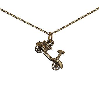 9ct Gold 11x20mm Scooter Pendant with a cable Chain 16 inches Only Suitable for Children