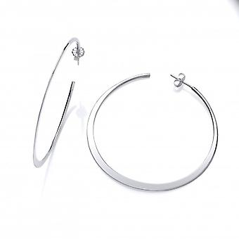 Cavendish French Sterling Silver Wafer-thin Large Hoops