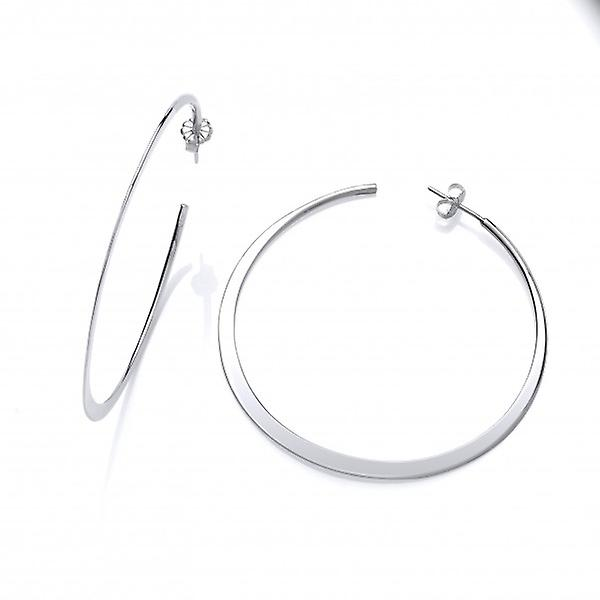 Cavendish franska Sterling Silver Wafer-tunn stort Hoops