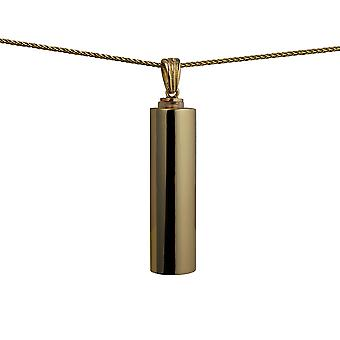 9ct Gold 40x12mm handmade plain round Memorial Cylinder with a spiga Chain 24 inches