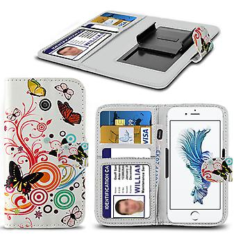 i-Tronixs Cubot S500 Case PU Leather Colourful Butterfly Printed Design Pattern Wallet Clamp Style Spring Skin Cover- Colourful Butterfly