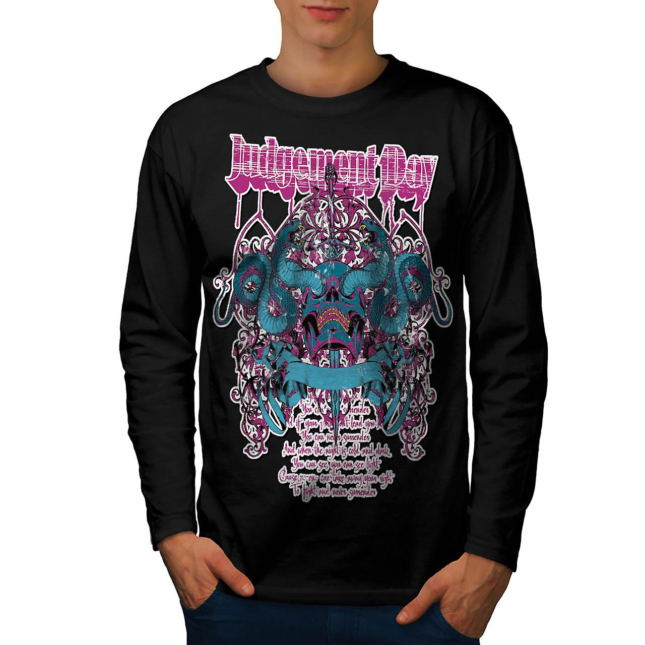 Judgement Day Hell Snake Skull Men Black Long Sleeve T-shirt | Wellcoda