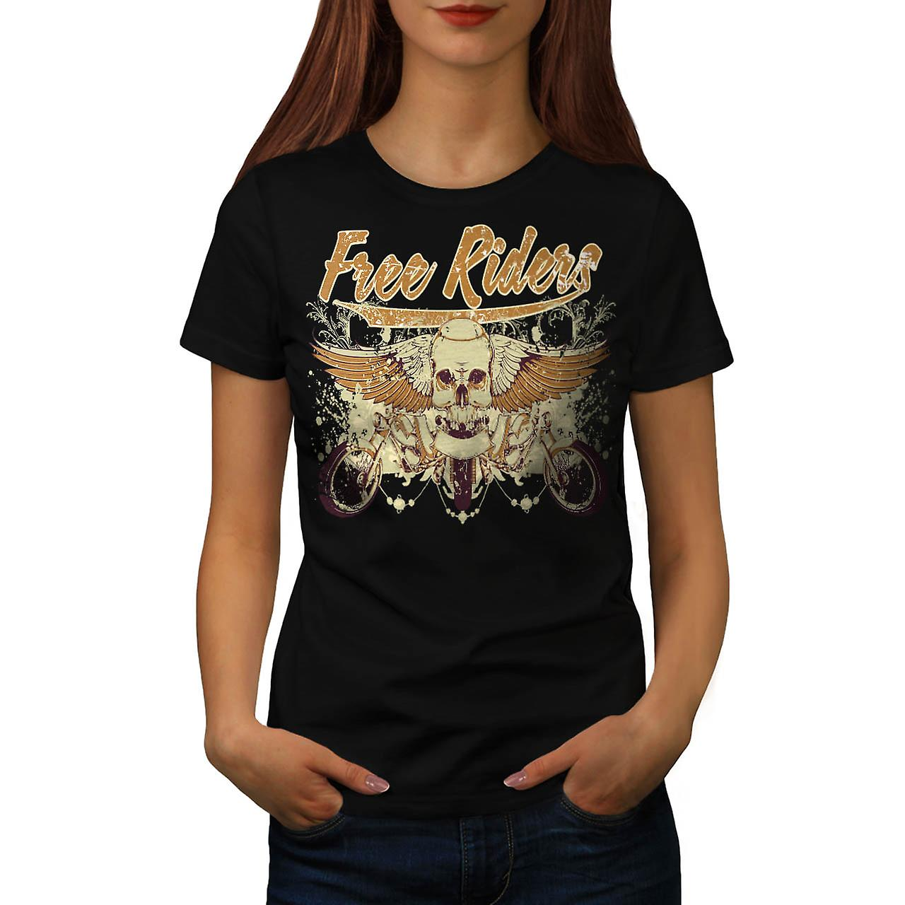 Free Rider Bike Gang Biker Life Women Black T-shirt | Wellcoda