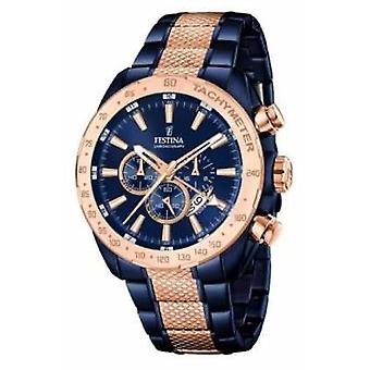 Festina Mens Two Tone Blue Rose Gold Chronograph F16886/1 Watch