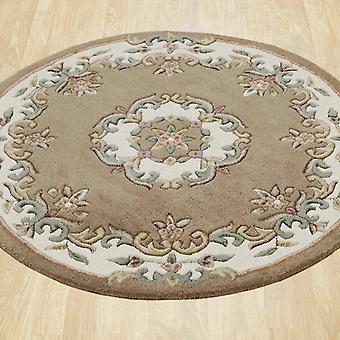 Royal Aubusson Round Rugs In Beige Cream