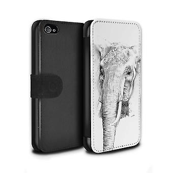 STUFF4 PU skinn lommebok Flip sak/dekning for Apple iPhone 4/4S/elefant/skisse tegning