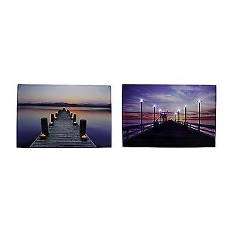 Serene Pier bij zonsondergang LED verlicht Canvas Print Set