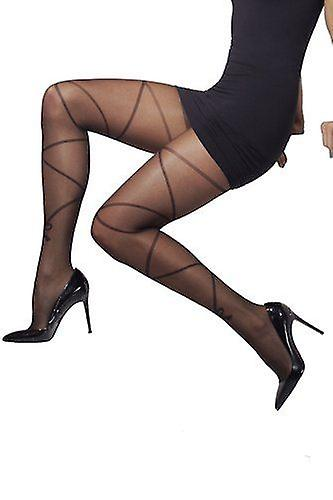 Smiffys Fever Hosiery Cross And Bow Print Black Tights Fancy Dress
