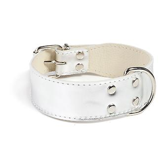 Doggy Things Plain Leather Dog Collar Silver 40cm