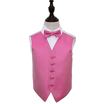 Boy's Fuchsia Pink Greek Key Patterned Wedding Waistcoat & Bow Tie Set