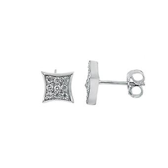 Sterling 925 Silver earrings - ALL ICE 3 x 3 CZ 8 mm