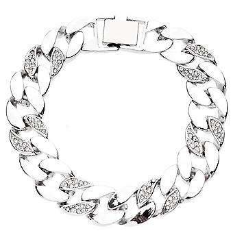 Iced out BOLD CZ hip hop bracelet - CURB 15mm silver