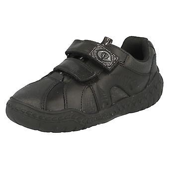 Boys Clarks School Shoes Black Leather Stomp Roar