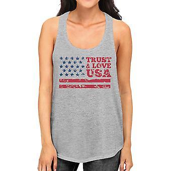 Love VS Womens grijs Tank Top ronde hals lijn katoen Tanks vertrouwen