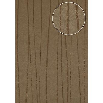Stripes wallpaper Atlas COL-566-0 non-woven wallpaper smooth design shimmering Brown terra brown beige brown gold 5.33 m2