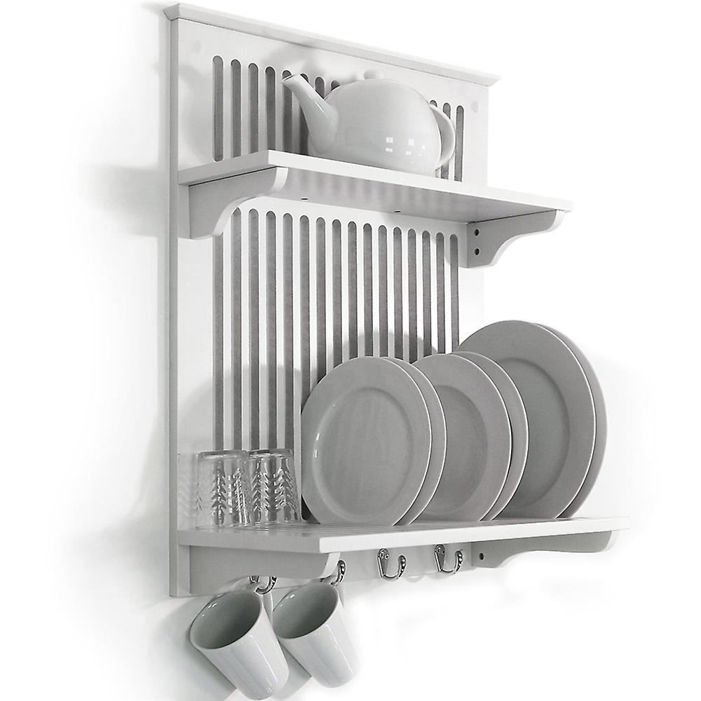 Novel - Kitchen Plate Bowl Cup Display / Wall Rack Shelves With Hooks - White