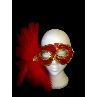 Red And Gold Sequin Eyemask With Red Feathers. (1)