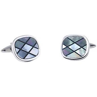 David Van Hagen Diamond Mother of Pearl and Onyx Striped Cufflinks - Silver/Grey