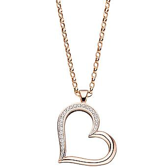 Heart 925 Sterling Silver Gold gold plated pendant with cubic zirconia heart pendant