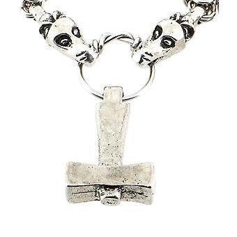 Handmade norrena Viking Uppsala Mjolnir Thor Hammer peltro catena ciondolo collana ~ 70 cm (27,5 pollici) catena
