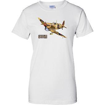 Supermarine Spitfire - Desert CamoFlage - WW2 Fighter - Ladies T Shirt
