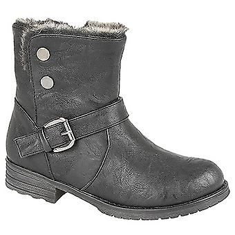 Cats Eyes Girls YKK Zip & Press Stud Biker Style Ankle Boots