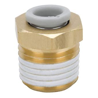SMC Pneumatic Straight Threaded-to-Tube Adapter, R 3/8 Male, Push In 6 mm