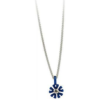Ti2 Titanium Small Ten Petal Flower Pendant - Navy Blue