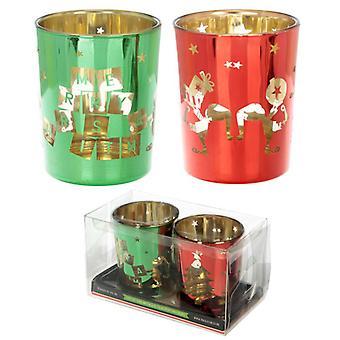 Puckator zestaw 2 świeczniki, Boże Narodzenie Elf