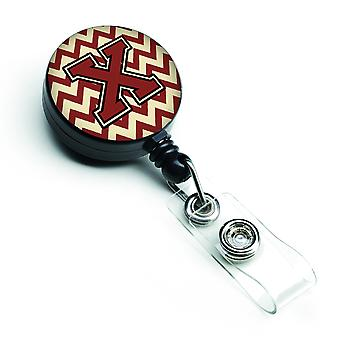 Letter X Chevron Maroon and Gold Retractable Badge Reel