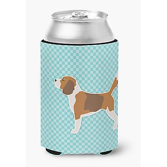 Carolines Treasures  BB3710CC Beagle Checkerboard Blue Can or Bottle Hugger