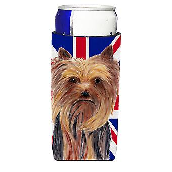 Yorkie with English Union Jack British Flag Ultra Beverage Insulators for slim c