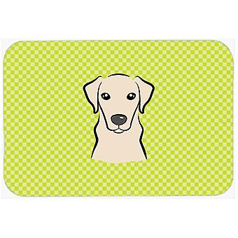 Checkerboard Lime Green Yellow Labrador Mouse Pad, Hot Pad or Trivet