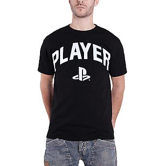 PlayStation T Shirt Player bloc texte classique Logo nouveau officiel Mens Black