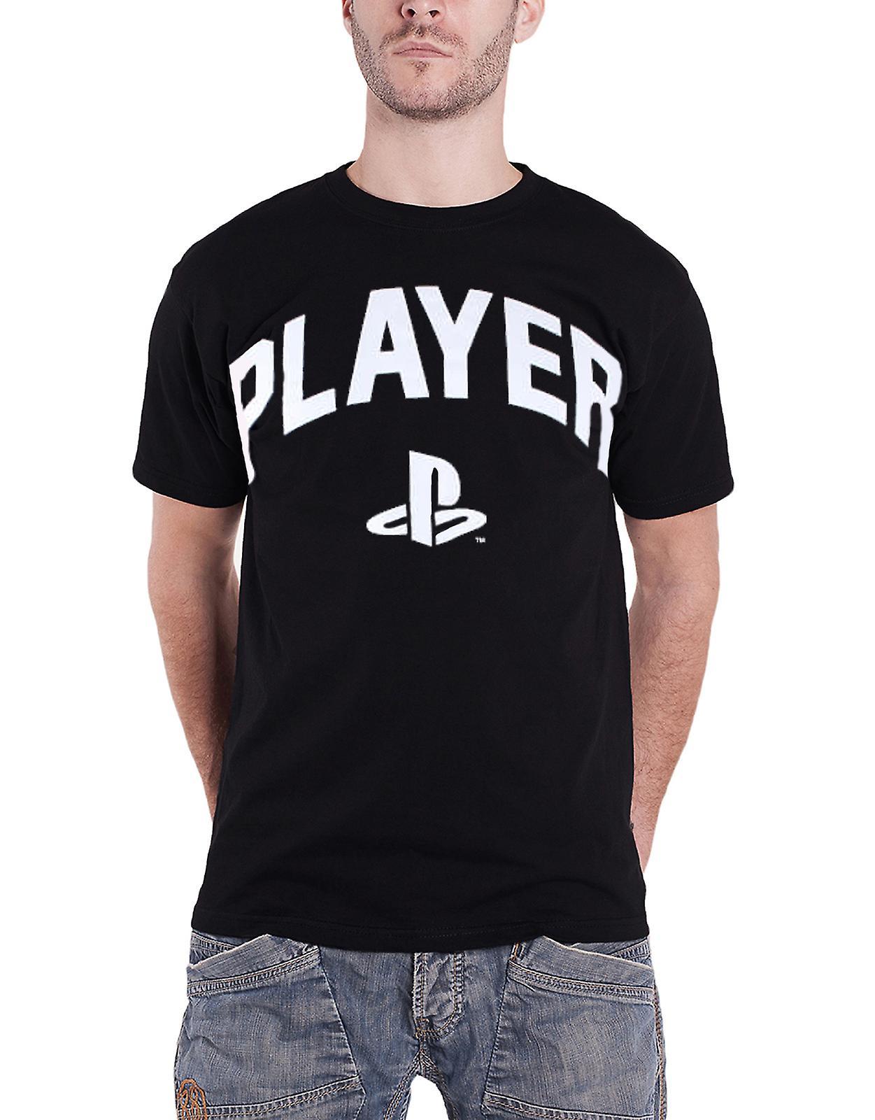 PlayStation T camiseta jugador bloque texto clásico Logo nuevo oficial para hombre negro