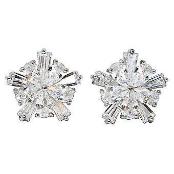 Beautiful Silver Plated Round Cut Cubic Zirconia Stud Earring Set