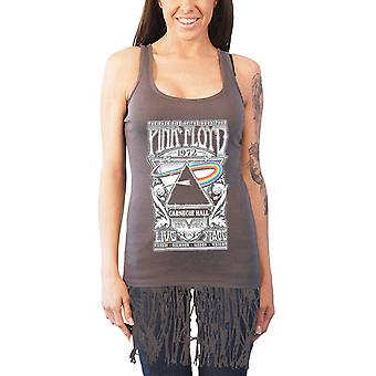 Pink Floyd Vest Carnegie Hall Poster Logo Official Womens Grey Top with Tassels