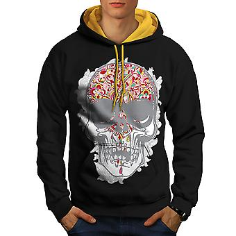 Face Head Skull Men Black (Gold Hood)Contrast Hoodie | Wellcoda