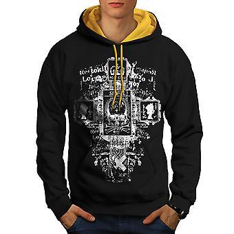 Symbols Goth Vintage Men Black (Gold Hood)Contrast Hoodie | Wellcoda